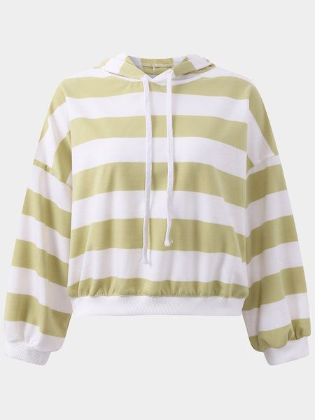 Active Cut Out Stripe Pattern Hooded Design Sports Hoodies in Yellow