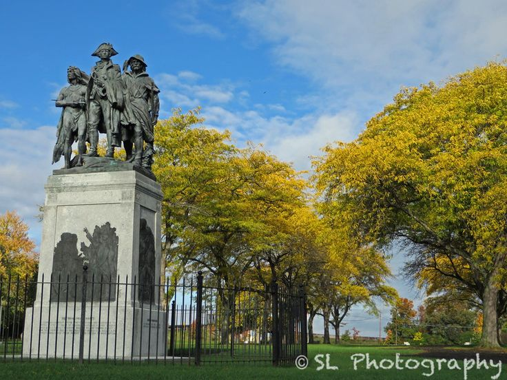 The Battle of Fallen Timbers statue on an autumn day outside of Toledo, Ohio.