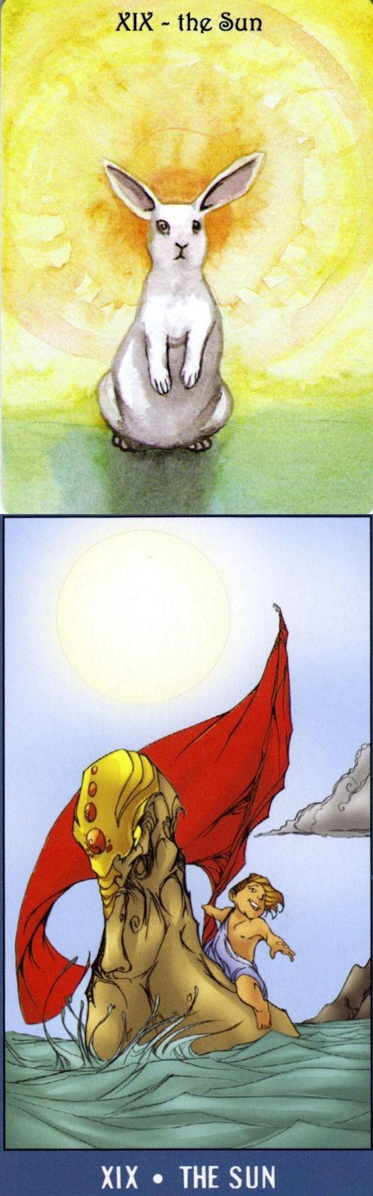 THE SUN: positivity and sadness (reverse). Rabbit Tarot deck and Undersea Tarot deck: tarot karte, тарот vs tarot cards on line. Best 2018 tarot reading and lenormand cards decks.