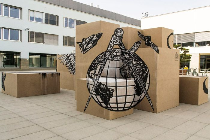 Truly Design - Vanitas - Anamorphic mural - Polytechnic Federal School of Lausanne.