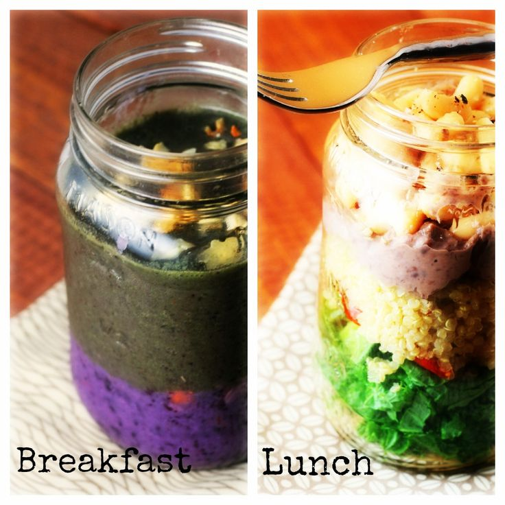 Breakfast and Lunch in a Jar! Kale Maple Blueberry Smoothie Parfait and Kale and Quinoa Salad in a Jar - Florida Coastal Cooking.