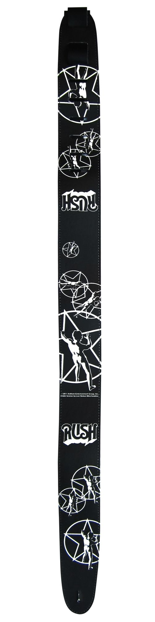 """Official Licensed Product - 2.5"""" Rush Star Man Leather Guitar Strap.  Made in Canada."""