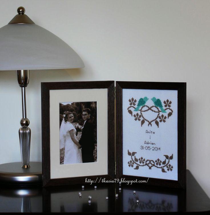 Wedding, Cross stitch with foto