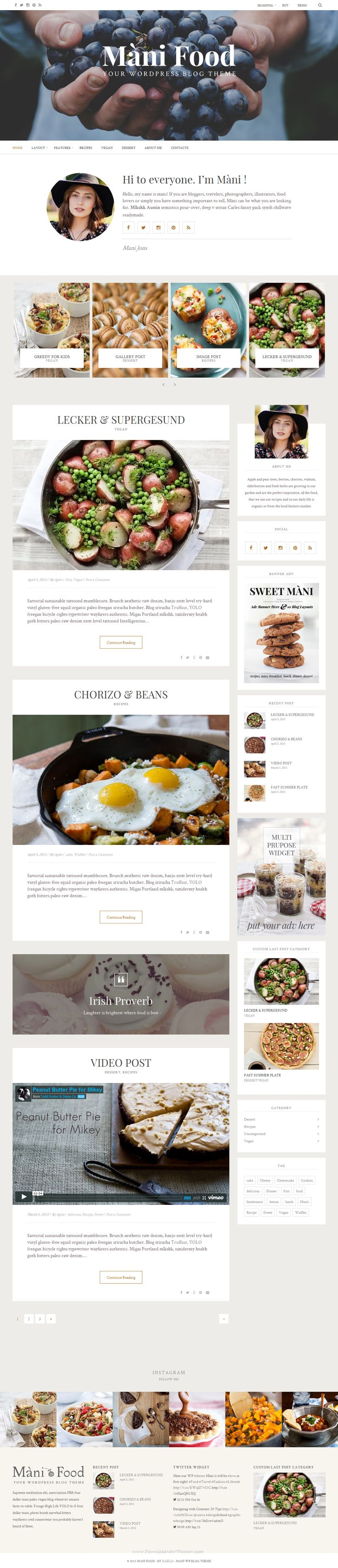 If you are bloggers, travelers, photographers, illustrators, #food lovers or simply you have something important to tell, Màni can be what you are looking for you best #website template #WordPres