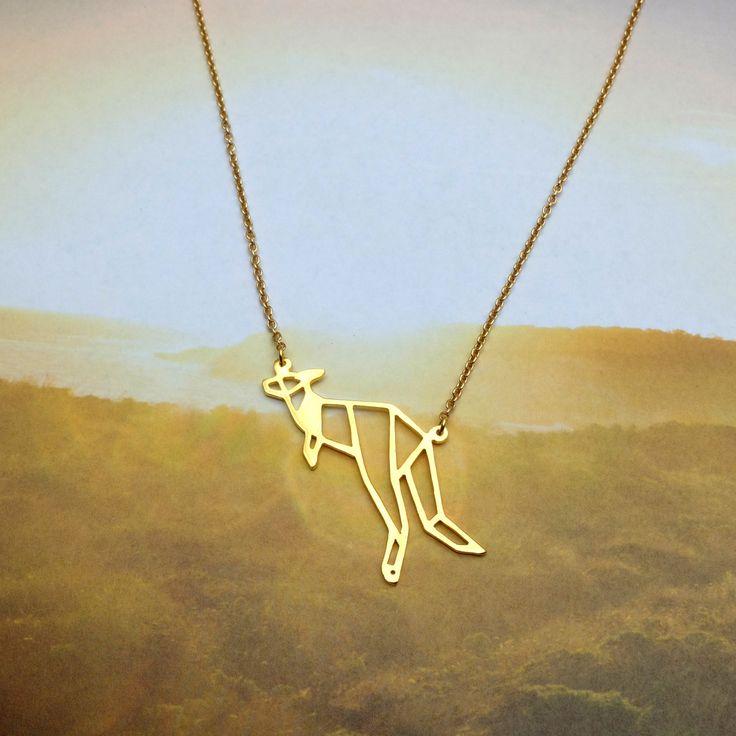 Kangaroo, Origami necklace, Animal necklace, Geometric Necklace, Animal lover, Wild Animal, Australian jewelry Birthday gift by glorikamishop on Etsy