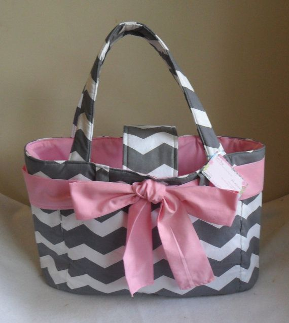 Large Gray Chevron with Pink Bow and Interior Diaper Bag Tote CHOICE OF ACCENT on Etsy, $54.99