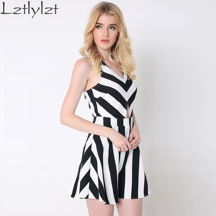 Summer women dresses Fashion sexy backless black and white striped short dress club party sundress women vestidos clothing Like if you are Excited! Visit us