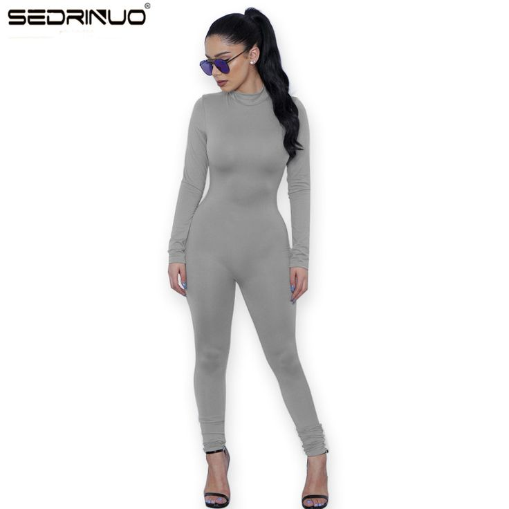 2017 New Hot Casual Women One Piece Jumpsuits Long Sleeve turtleneck Bodycon Back Zipper Long Pants Sexy Outfits Grey Rompers
