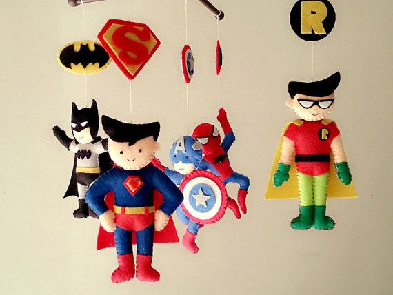 "Felt mobiles,Avengers mobile,"" Mom, I met Superheroes"" Superman, Spider man, Captain America, Batman and Robin"