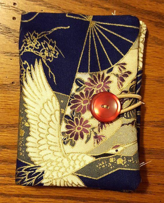 Asian Crane Fabric Tea Bag Holder Storage Favor Wallet Caddy Tea Party Favors Bridal Shower Wedding by PandorasPurses on Etsy