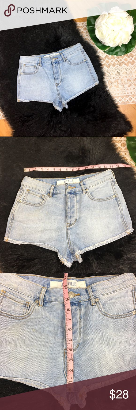 """Brandy Melville High Rise Button Fly Jean Shorts Brandy Melville High Rise Button Fly Jean Shorts. Size 28. All measurements in listing photos. Good used condition. Has a """"cut off"""" style hem that looks homemade but is meant to look that way. So wish these fit me! Brandy Melville Shorts Jean Shorts"""