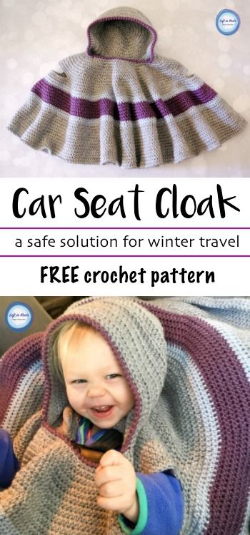 A FREE crochet pattern!  This Car Seat Cloak is perfect for keeping your toddler warm while still safely buckled into a car seat.  Also known as a Car Seat Poncho or Car Seat Cape.  Get the pattern on Left in Knots and make it for your next baby gift!