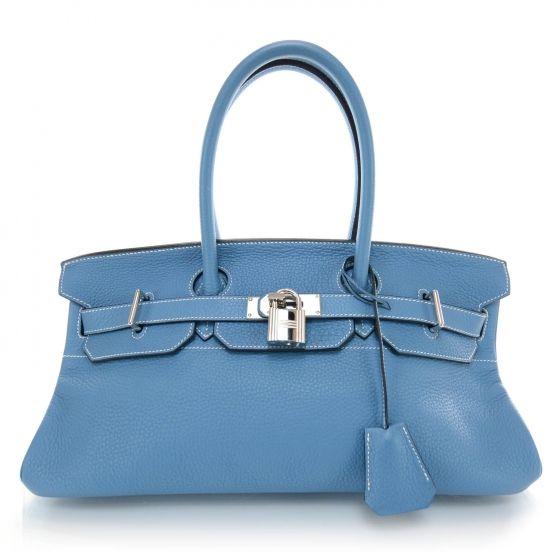 HERMES Taurillon Clemence JPG Birkin 42 in Blue Jean.