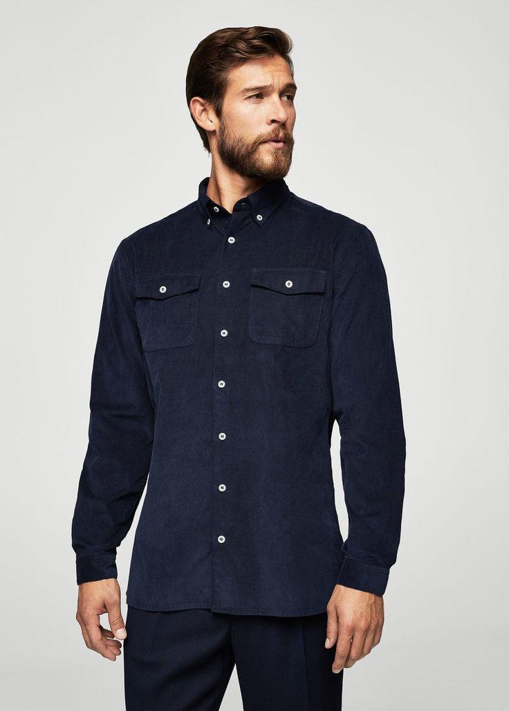 Corduroy katoenen slim-fit overhemd | MANGO