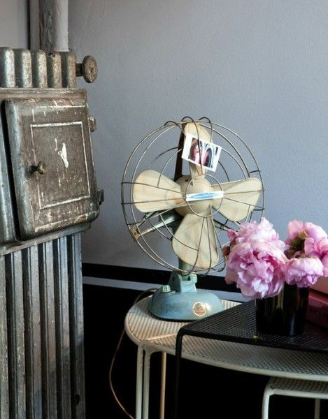 vintage fan with picture