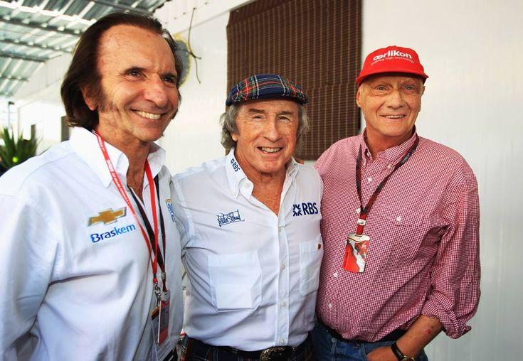 Emerson Fittipaldi, Sir Jackie Stewart and Niki Lauda