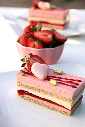Strawberry and Pistachio Mousse Cake - http://gourmetbaking.blogspot.co.uk/2011/02/valentine-dessert-idea-strawberry-and.html