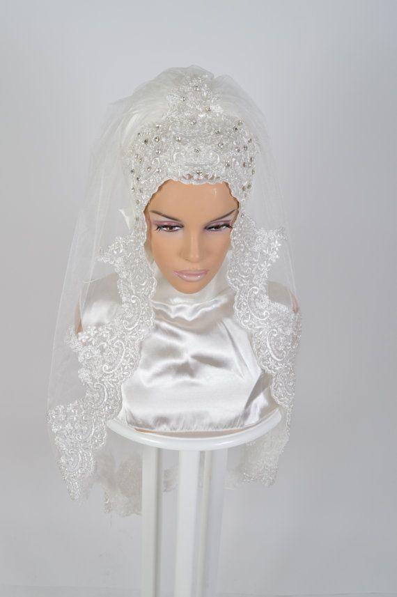 Ready To Wear Bridal Hijab  Code: HGT-0410 Muslim by HAZIRTURBAN
