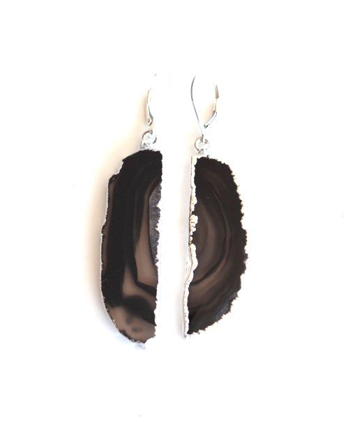 Agate Dark Brown Silver Drops