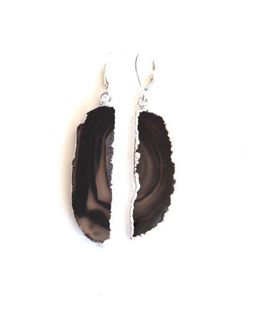Agate Dark Brown Silver Drops