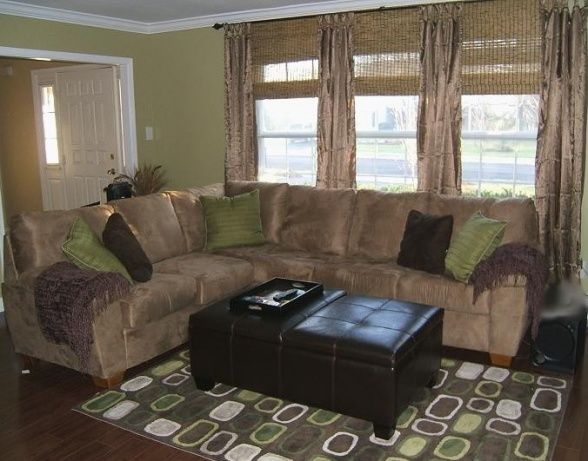 Green And Brown Living/family/media Room. Love The Colors And REALLY Like