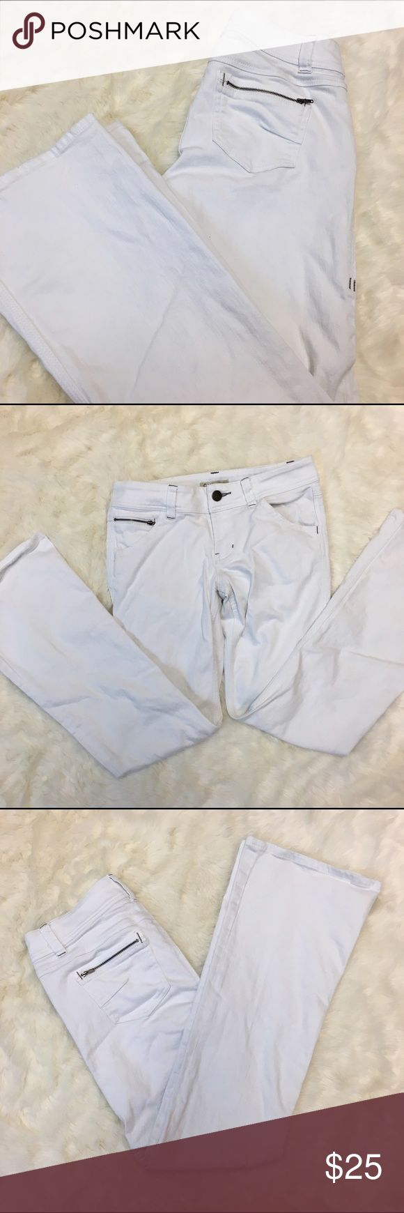 CAbi White Bootcut Jeans CAbi White Bootcut Jeans in very good condition. One front pocket and back pockets have zippers. CAbi Jeans