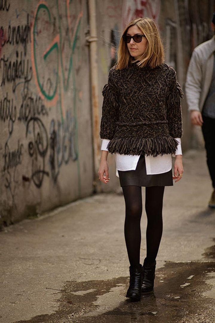Edun Chunky Fringe Sweater + Vintage Leather Skirt ...