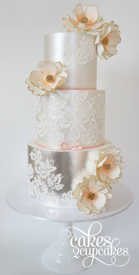 Gorgeous Wedding Cake Inspiration from Cakes 2 Cupcakes peach blush silver leaf lace