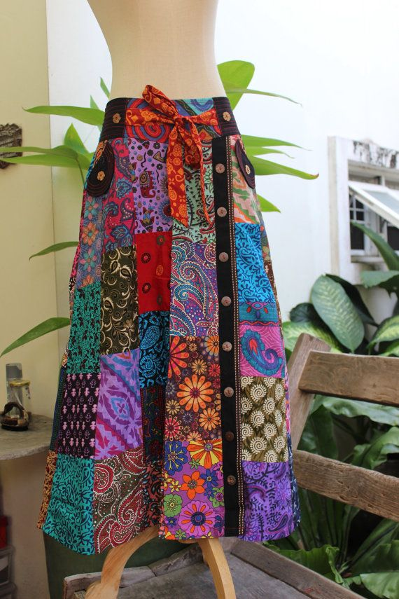 PATCHWORK Boho Gypsy A Shape Long Skirt  by fantasyclothes on Etsy