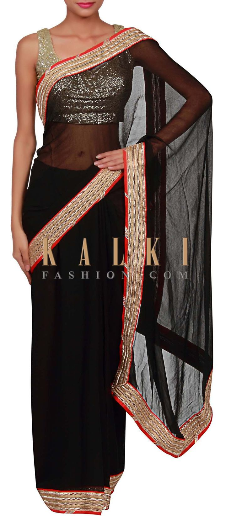 Buy Online from the link below. We ship worldwide (Free Shipping over US$100) http://www.kalkifashion.com/black-saree-adorn-in-gotta-patti-lace-border-only-on-kalki.html