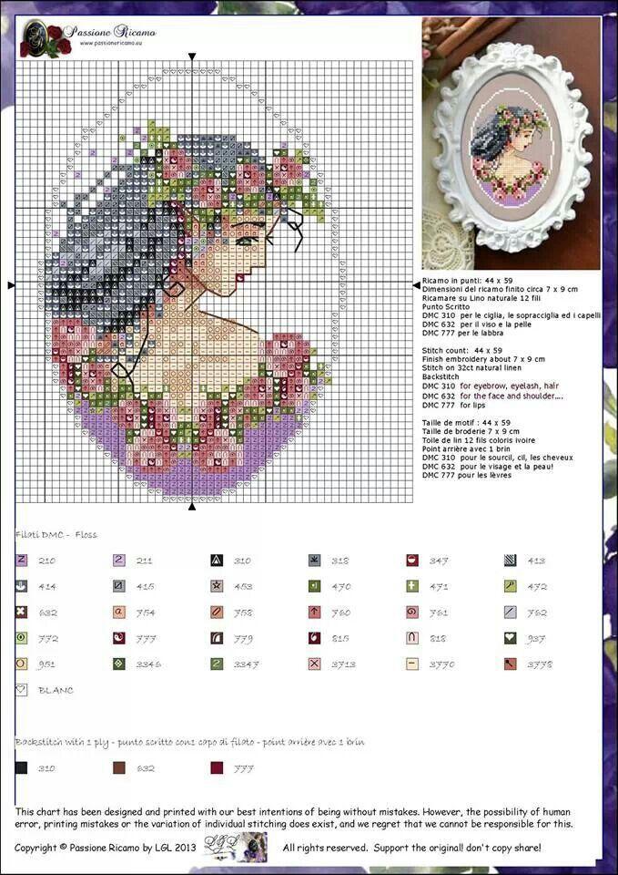 0 point de croix femme brune couronne de fleurs - cross stitch brown haired lady with crown of flowers