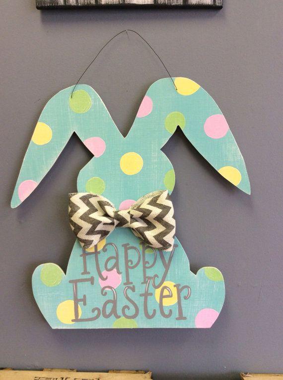 Easter Bunny Door Hanger by CrossMyArtStudios on Etsy, $55.00