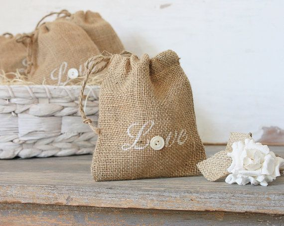 buttons and burlap rustic love sacks set of five    makes a charming way to present  your valentines day gift    the word love stenciled in a warm