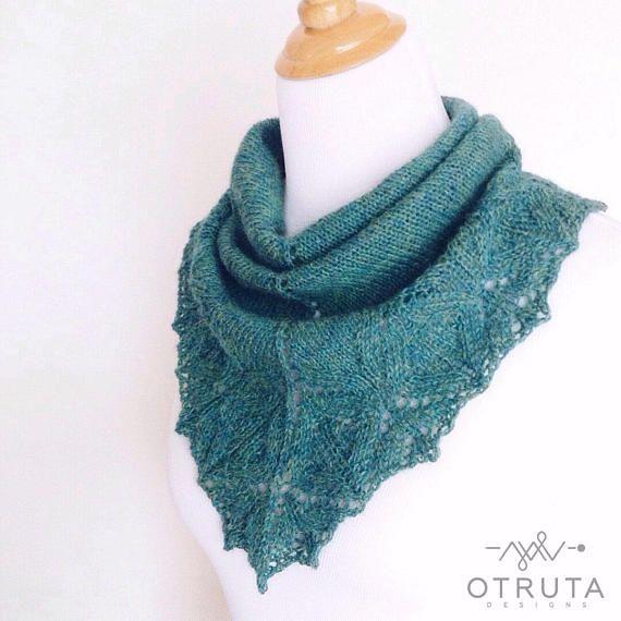 Green knit shawl cowl Alpaca neck warmer Lace loop scarf Warm
