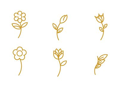 Flowers line icons