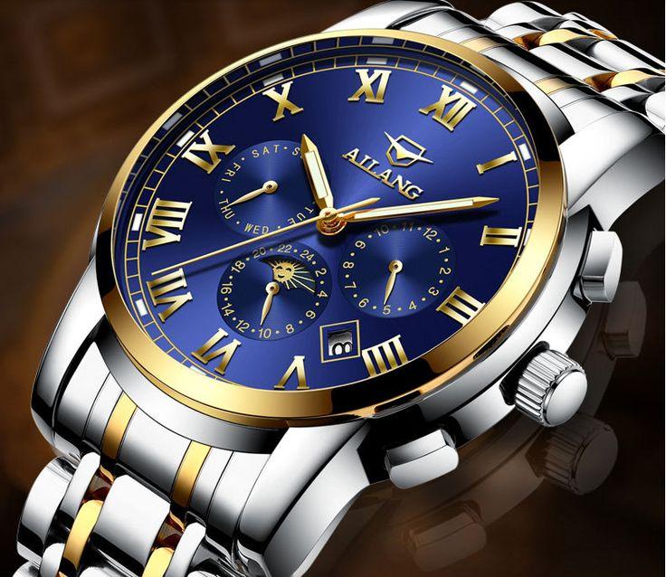 Fashion Guys Multi-functional Full Steel Watches Mechanical Self-wind Men Calendar Dress Wrist watch Roman Calendar Relojes W034 #Affiliate