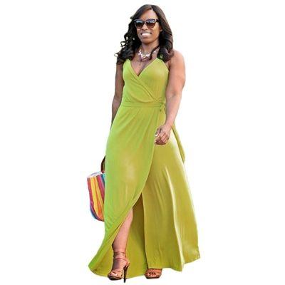 Halter Plunging Neck Sash Waist Maxi Dress