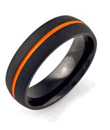 Flat Black Wedding Band with Orange Inlay