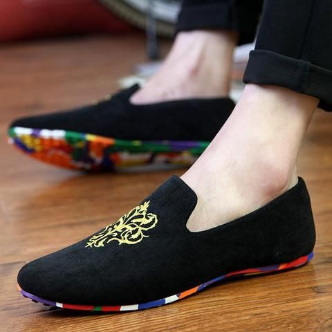 Velvet Loafers With Embroidery (3 Colors)  #TakeClothe #Mensfashion #Fashion #Streetstyle #Shoes
