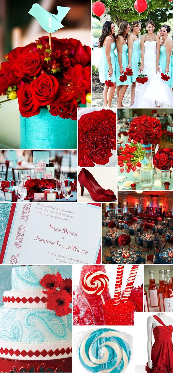 19 best Tiffany Blue (Aqua), Red, Black and White Wedding images on ...