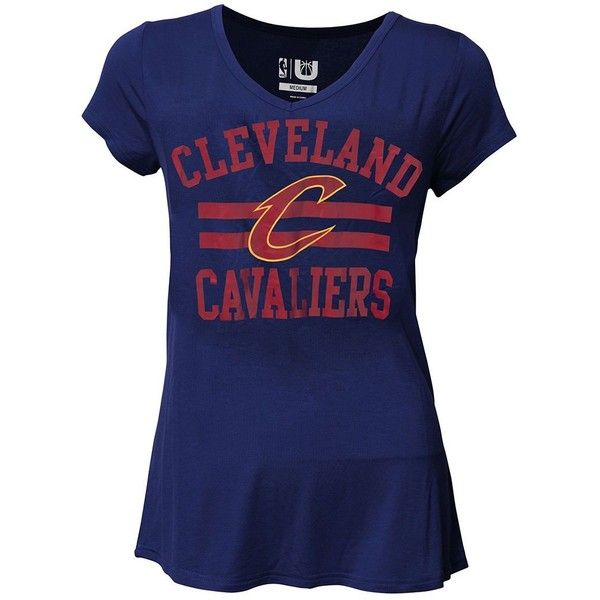 Women's Cleveland Cavaliers Co-Ed Tee ($30) ❤ liked on Polyvore featuring tops, t-shirts, blue, graphic t shirts, pattern t shirt, print t shirts, graphic print t shirts and short sleeve tee