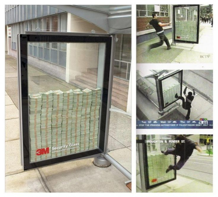 3M  Agency: Unknown  How do you promote industrial strength security glass? Create a shelter with $3 million placed inside it and challenge people to break it open. The reality was that only the $50 on top were real, but that doesn't make this any less clever. via http://www.simplyzesty.com/