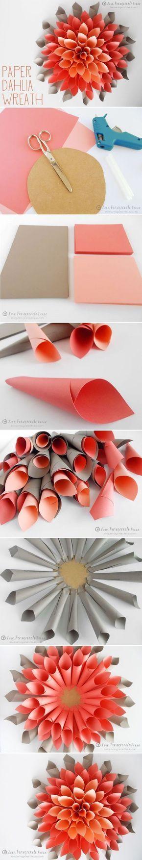 DIY Paper Dahlia Wreath - 15 Most PINteresting DIY Paper Decorations   GleamItUp