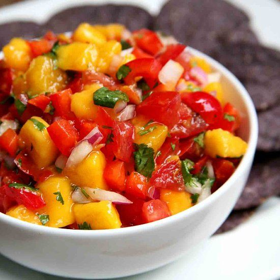 The Taste of Summer: Mango Red Pepper Salsa. I get this at QDoba all the time!! I would love to have it at home!