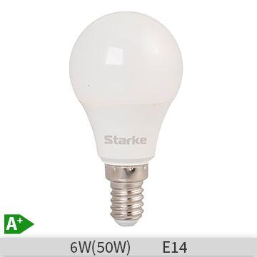 Bec LED STARKE Plus forma lustra P45, 6W-50W, E14, 30000 ore, lumina calda 3000K