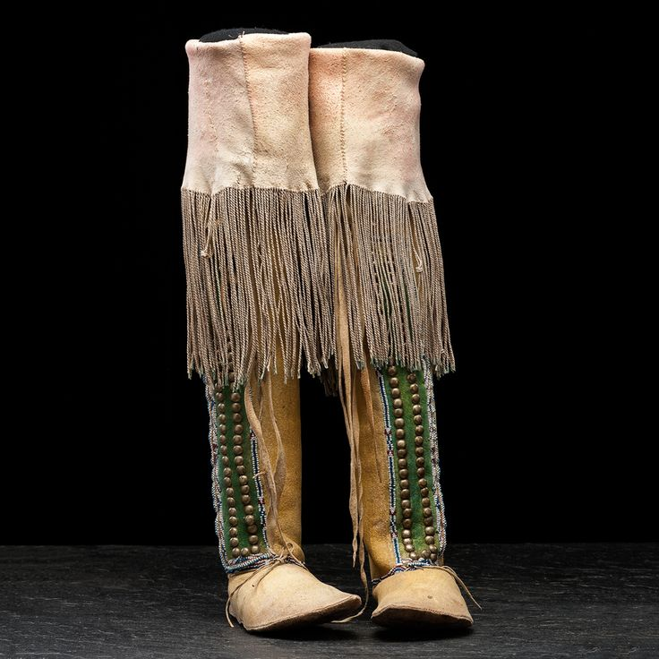 Comanche Beaded Hide Boot-style Moccasins   Cowan's Auction House