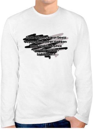 İyiTriloji - Siyah Beyaz - Kendin Tasarla - Erkek Bisiklet Yaka Tişört Uzun Kollu