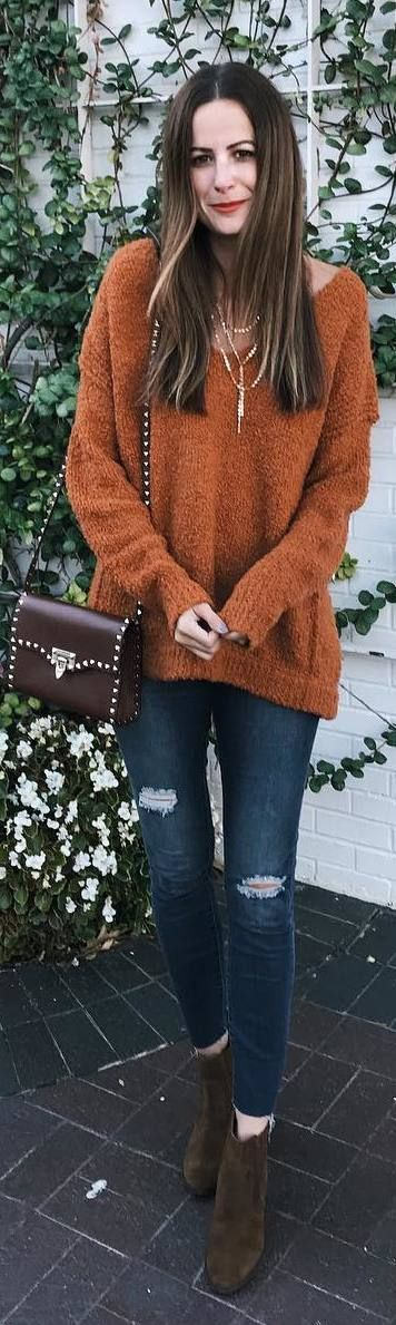 #fall #outfits brown sweater ripped jeans brown boots