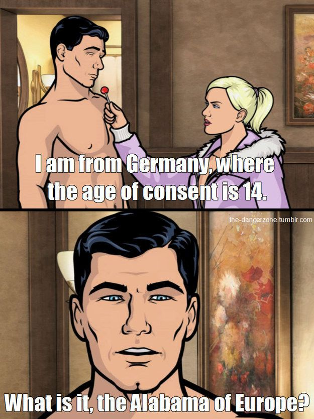 "When Archer learned about Germany's laws. | 23 ""Archer"" Jokes So Funny They'll Put You In The Danger Zone"