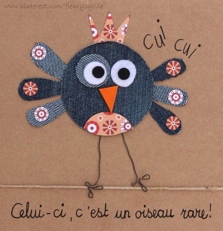 Un petit oiseau rare! #jeans #recycle http://pinterest.com/fleurysylvie/mes-creas-la-collec/